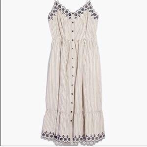Madewell Embroidered Jardin Midi Dress Sz 0